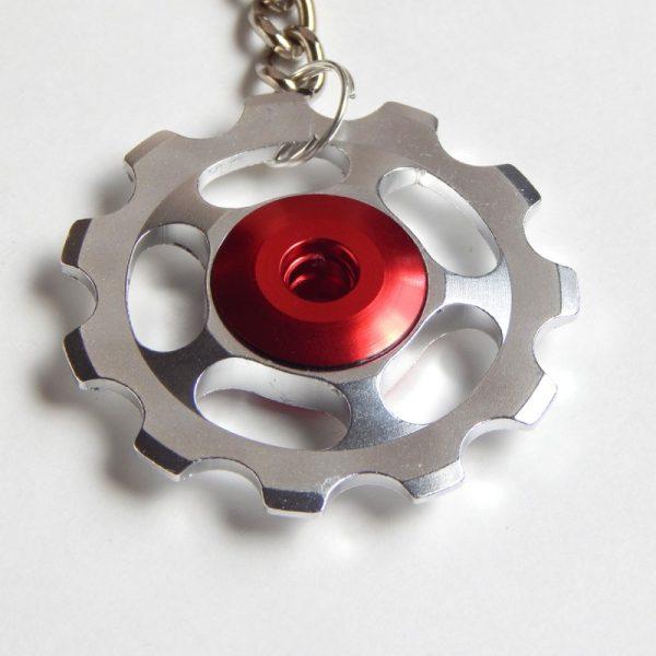 silver Jockey wheel key ring
