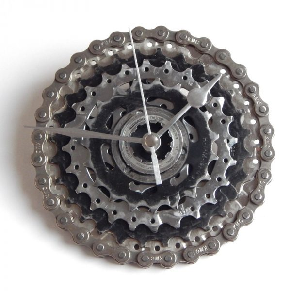 recycled bike bicycle clock