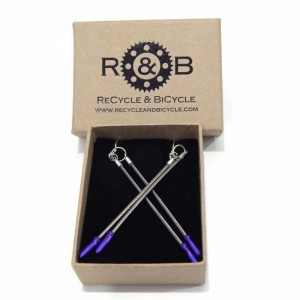 Brake cable earrings recycle and bicycle