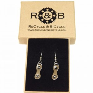 Recycle And Bicycle Bike Chain Earrings