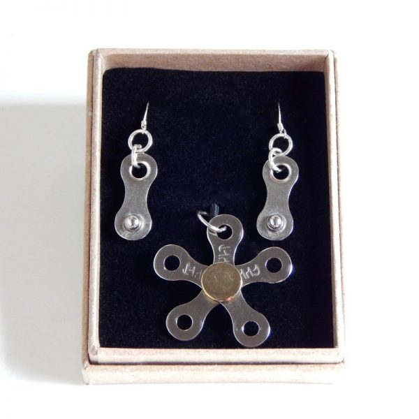 bicycle chain pendant & earrings