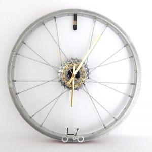 recycled brompron bicycle wheel clock