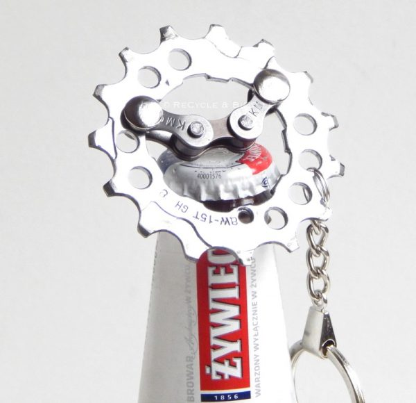 recycled bicycle cassette bottle opener keyring