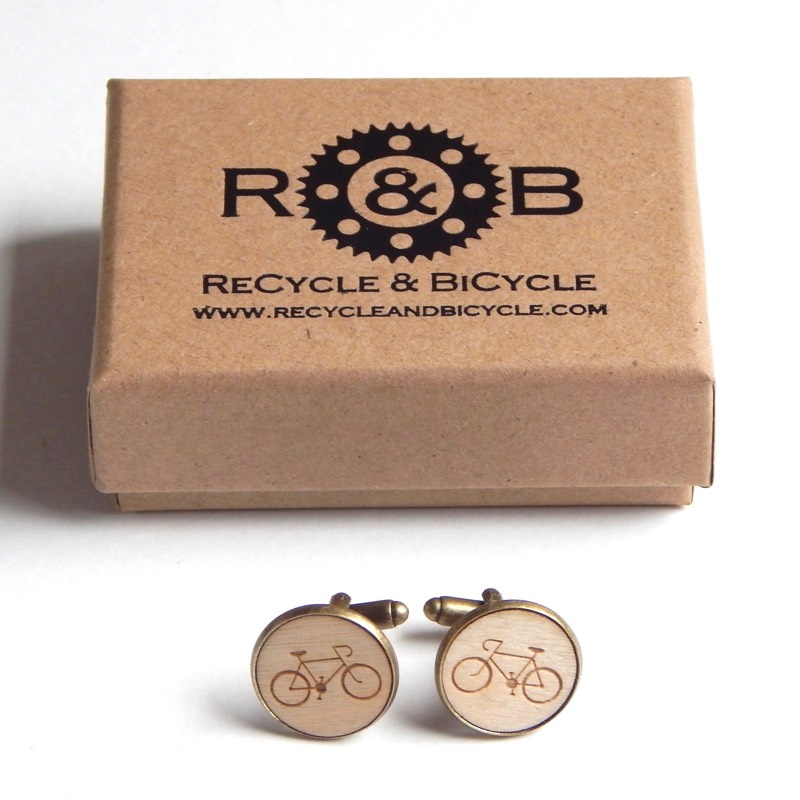 wooden bicycle cufflinks cycling gift fathers day