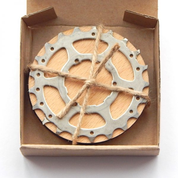 recycled bicycle cassette cog coaster