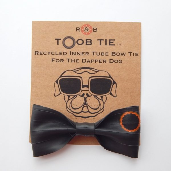 recycled inner tube dog bow tie