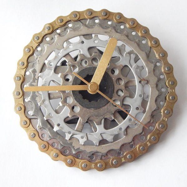 recycled bicycle bike clock