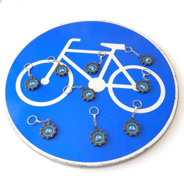 recycled bicycle chain keyring