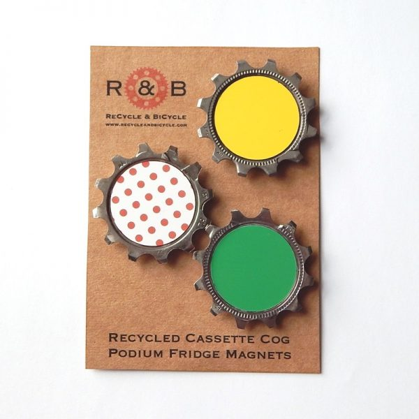 recycled bicycle fridge magnets