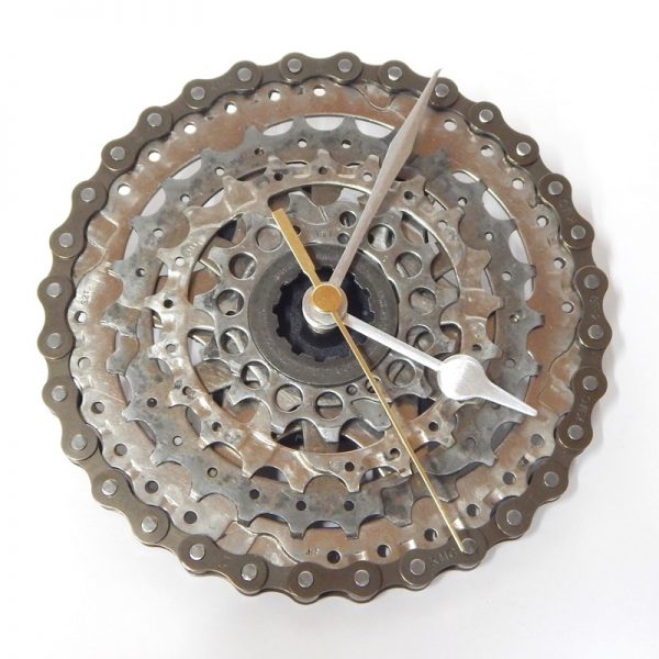 Recycled bicycle bike clock