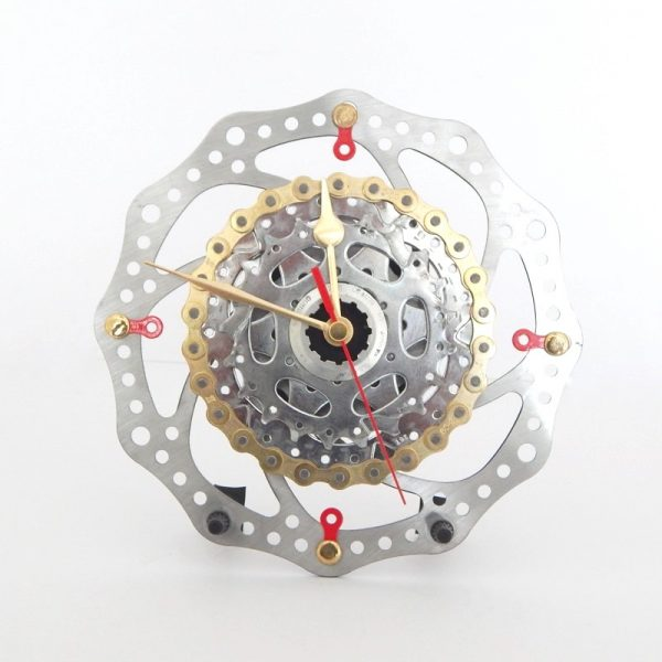 Large Recycled Bicycle Brake Rotor & Cassette Desk Clock