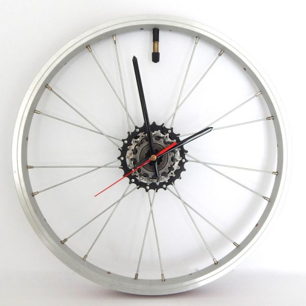 Recycled Bicycle Rim / Wheel Clock Black Hands