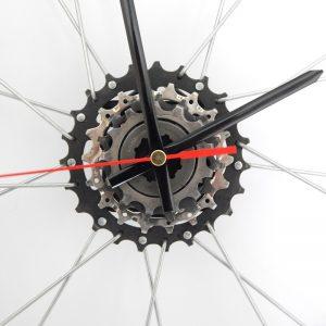 Recycled Bicycle Rim / Wheel Clock Black Hands