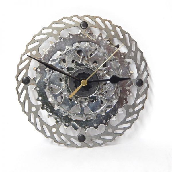 Recycled bicycle parts wall clock