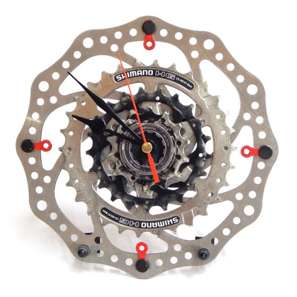recycled bike desk clock