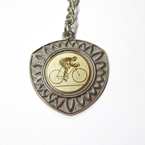 retro cycling keyring