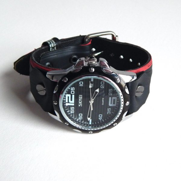 upcycled bicycle tyre watch strap and watch