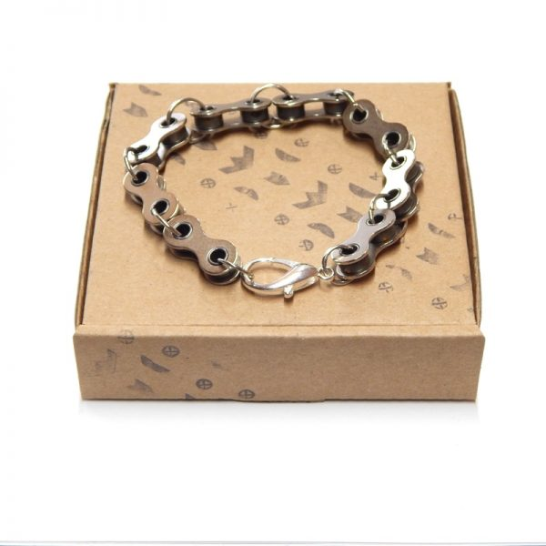 recycled bicycle chain bracelet