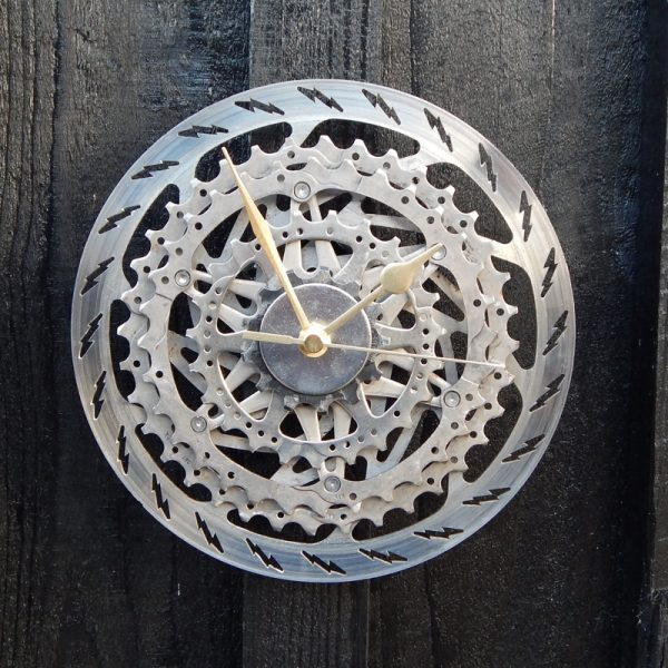 upcycled bicycle parts clock