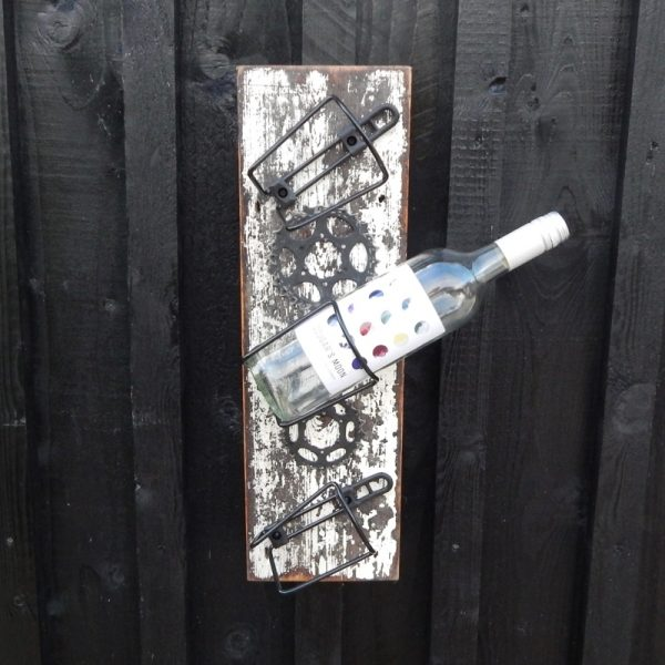 upcycled bicycle parts wine rack