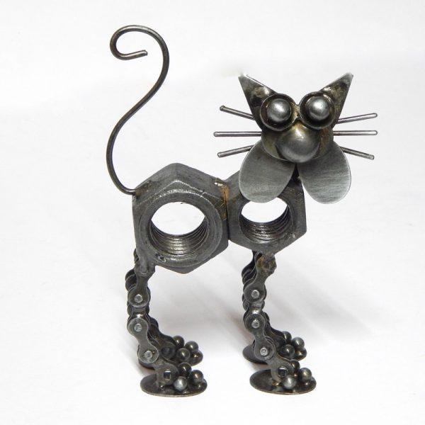 Fair trade bicycle chain cat sculpture
