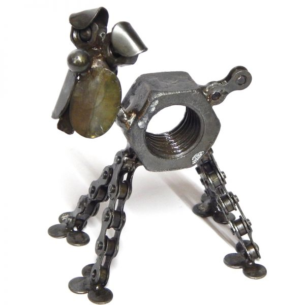 fair trade bicycle chain dog sculpture