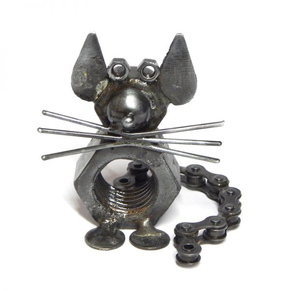 fair trade bicycle chain mouse sculpture