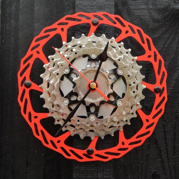 upcycled bicycle parts wall clock