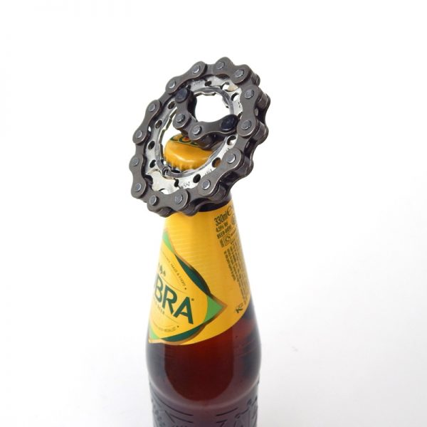 Upcycled bicycle parts bottle opener