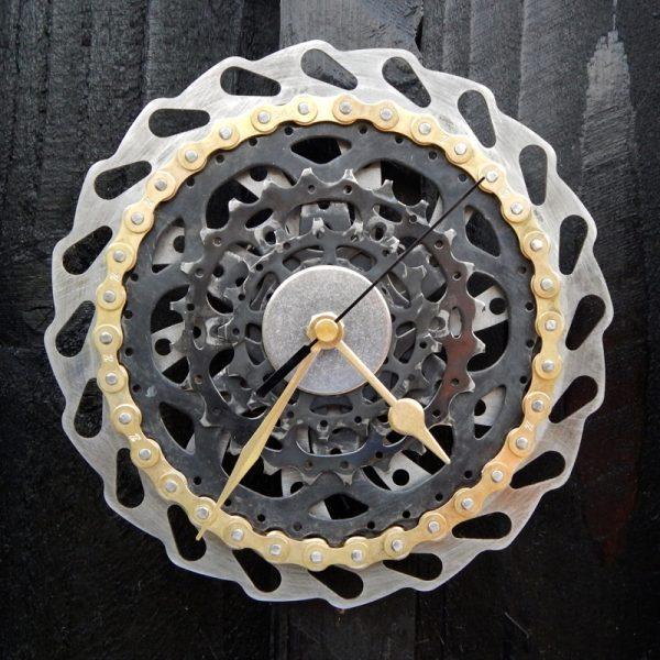 upcycled bicycle parts wall clock